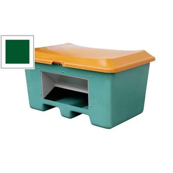 Streugutbehälter für Streusalz, Futtermittel, Entnahmeöffnung und Staplersockel, 400 l Volumen, 680 x 1.210 x 820 mm (HxBxT), grün/orange, aus GFK