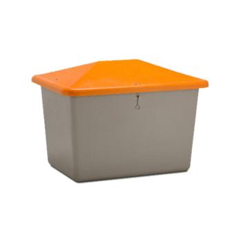 Streugutbehälter für Streusalz, Winterstreumittel, Futtermittel, 700 l Volumen, 960 x 1.340 x 990 mm (HxBxT), GFK, grau/orange
