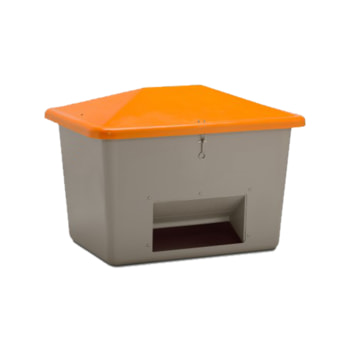 Streugutbehälter für Streusalz, Winterstreumittel, Futtermittel, mit Entnahmeöffnung, 700 l Volumen, 960 x 1.340 x 990 mm (HxBxT), grau/orange GFK