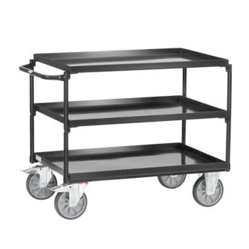Beispielabbildung Tischwagen mit Stahlwannen: hier in der Ausführung mit 3 Etagen, Ladefläche 700 x 1.000 mm