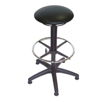 Hocker, Stehhilfe mit Fußring - Sitzhöhe 610 - 870 mm - Kunstleder - Kunststoff Fußkreuz mit Gleitern