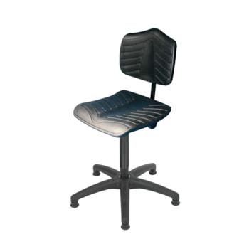 Arbeitsstuhl, PU supersoft schwarz, Kunststoff Fußkreuz mit Gleitern