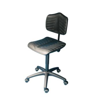 Arbeitsstuhl, PU supersoft schwarz, Kunststoff Fußkreuz mit Rollen