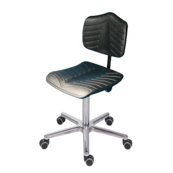 Arbeitsstuhl, PU supersoft schwarz, Aluminium Fußkreuz mit Rollen