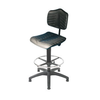 Arbeitsstuhl mit Fußring, PU supersoft schwarz, mit Gleitern