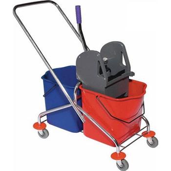 Reinigungswagen, Putzwagen, Doppelfahreimer, Clean Trolley, 2 x 27 l Volumen mit Schubstage und 4 Lenkrollen, Doppelbacken-Mopp-Presse mit Hebel