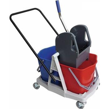 Reinigungswagen, Putzwagen, Doppelfahreimer, Clean Trolley, 2 x 17 l Volumen mit Schubstage und 4 Lenkrollen, Doppelbacken-Mopp-Presse mit Hebel