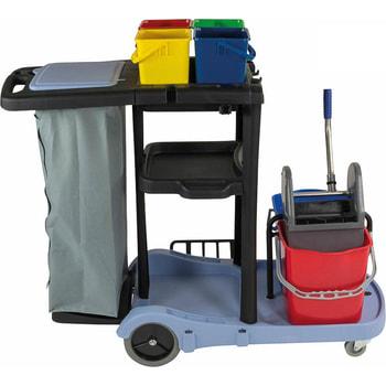 Servicewagen, Reinigungswagen für Zimmerservice, Raumpflege, Wischmopphalter, Mopp-Presse, Müllsackhalter, Roomservice, Abfallwagen