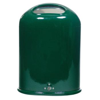 Ovaler Abfallbehälter mit selbstschließender Federklappe, RAL 6005 moosgrün