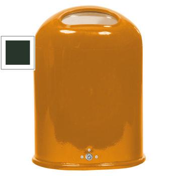 Beispielabbildung ovaler Abfallbehälter mit selbstschließender Federklappe, hier in RAL 2000 gelborange