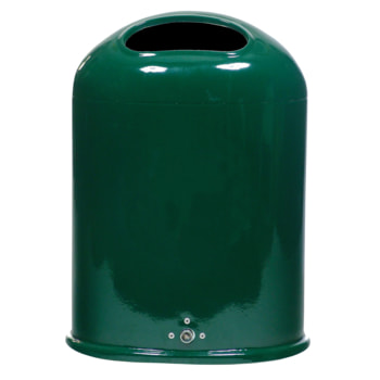 Ovaler Abfallbehälter, RAL 6005 moosgrün