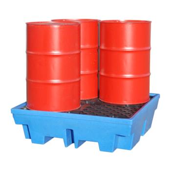 Auffangwanne aus PE - 410 l Volumen - 4 Stk. 200-l-Fässer