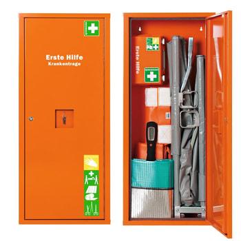 Abbildung zeigt voll ausgestatteten Erste Hilfe Schrank für Krankentragen