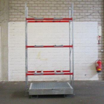 Fassregal - Auffangwanne mit Gitterrostauflage - 6 x 200 Liter Fässer - 3 Ebenen
