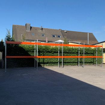 Gebrauchtes Palettenregal - ca. 4.000 x 14.100 x 1.100 mm - Schwerlastregal Regal 3 Tonnen