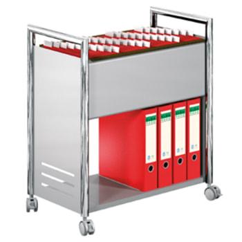 Aktenwagen - Bürowagen - 1 Ablageboden - 1 Hängeregistratur - 730 x 660 x 375 mm (HxBxT) - 4 Lenkrollen feststellbar - chrom/silber - für Hängemappen