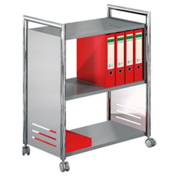 Mehrzweck Aktenwagen - Bürowagen mit 3 Ablageböden - 840 x 700 x 400 mm (HxBxT) - 4 Lenkrollen feststellbar - chrom/silber - Rollwagen für Aktenordner
