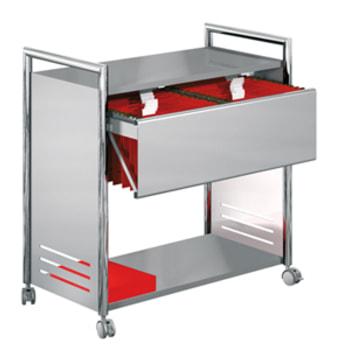 Aktenwagen - Bürowagen - 2 Ablageböden - 1 Hängeregistratur - 800 x 815 x 435 mm (HxBxT) - 4 Lenkrollen feststellbar - chrom/silber - für Hängemappen