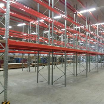 Gebrauchtes Palettenregal - ca. 5.000 x 14.100 x 1.100 mm - Schwerlastregal Regal 2,2 Tonnen
