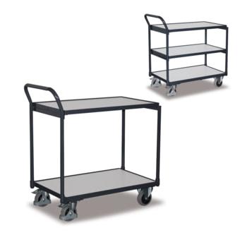 Beispielabbildung leichter Tischwagen: erhältlich mit 2 und 3 Etagen und wählbarer Ladefläche (BxT)