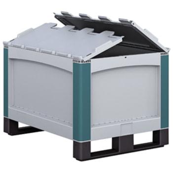 Palettenboxen PP - Volumen wählbar - geschlossene Wände - 2 Kufen - Klappdeckel