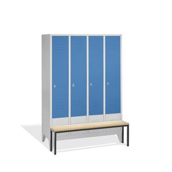 Abbildung zeigt Schrank in der Türfarbe Lichtblau (RAL 5012) und Sitzleisten aus Hartholz