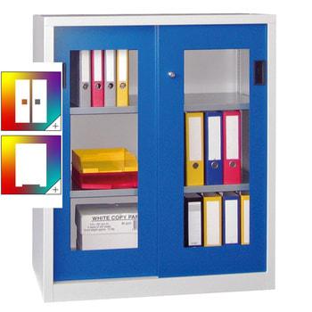 Beispielabbildung: Schiebetürenschrank mit Sichtfenstertüren, Korpus in Lichtgrau (RAL 7035) und Front in enzianblau (RAL 5010), Fachböden verzinkt, 1 m breit