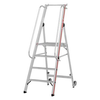 Beispielabbildung Plattformleiter mit langem Handlauf, hier in der Variante mit 7 Stufen (inkl. Plattform)