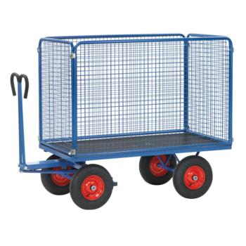 Fetra - Handpritschenwagen - Traglast 1.250 kg - (BxT) 1.000 x 2.000 mm - Drahtgitterwände 1.000 mm - Bereifung und Zugöse wählbar