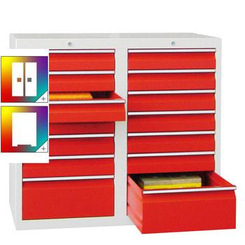 Beispielabbildung Schubladenschrank, 2 Schubladenreihen