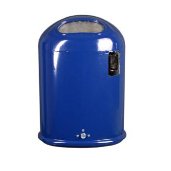 Ovaler Abfallbehälter mit selbstschließender Federklappe und Ascher