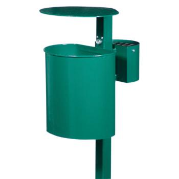 Beispielabbildung Abfallbehälter mit Ascher und Pfosten, hier in Moosgrün (RAL 6005)