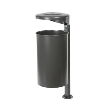 Beispielabbildung Stand-Abfallbehälter mit Pfosten, Haube und Ascher, hier in DB 703 eisenglimmer