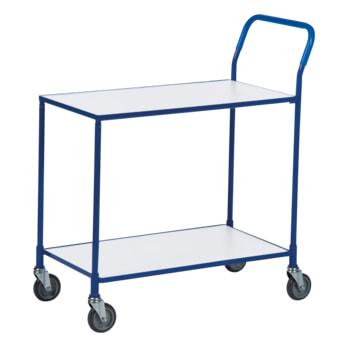Beispielabbildung Transportwagen, hier mit Rahmen in blau und weißen Böden