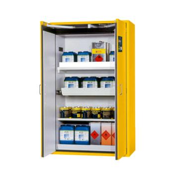 Beispielabbildung Sicherheitsschrank, hier in der goldgelben Ausführung, mit Fachboden, Auszugswanne und Wannenboden.
