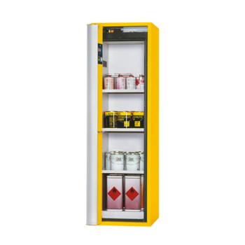 Beispielabbildung Sicherheitsschrank mit Falttür: hier in der Ausführung mit 3 Fachböden, Goldgelb