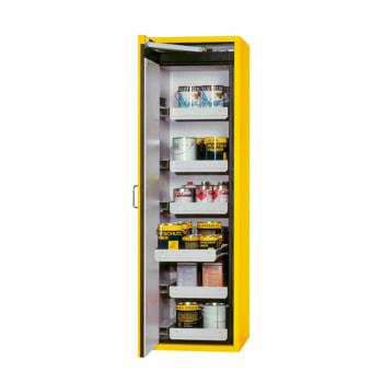 Beispielabbildung Sicherheitsschrank, hier mit Auszugswannen, in goldgelb
