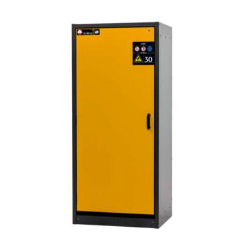 Transportabler Sicherheitsschrank Typ 30, typgeprüft nach DIN EN 14470-1. Front in Goldgelb (RAL 1004)