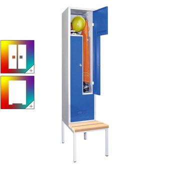 Beispielabbildung: Garderobenschrank mit Sitzbank und Drehriegel, hier in der Ausführung mit Buchenleisten, Korpus in lichtgrau (RAL 5035), Front in enzianblau