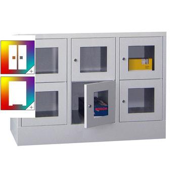 Beispielabbildung: Schließfachschrank mit Sichtfenstern, 6 Fächern (Zylinderschloss), Korpus und Front in Lichtgrau (RAL 7035)