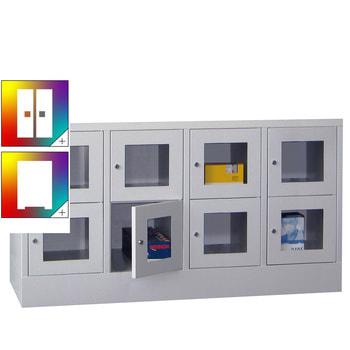 Beispielabbildung: Schließfachschrank mit Sichtfenstern, 8 Fächern (Zylinderschloss), Korpus und Front in Lichtgrau (RAL 7035)
