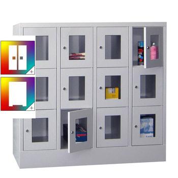 Beispielabbildung: Schließfachschrank mit Sichtfenstern, 12 Fächern (Zylinderschloss), Korpus und Front in Lichtgrau (RAL 7035)