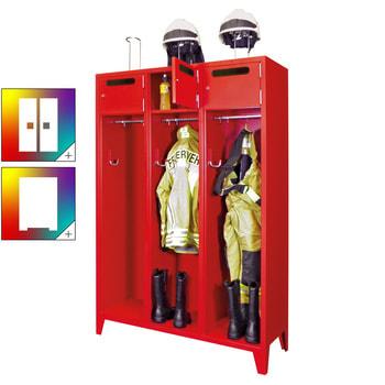 Beispielabbildung: Feuerwehrschrank, hier in der Ausführung mit 3 Abteilen, Feuerrot (RAL 3000)