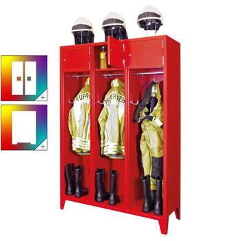 Beispielabbildung: Feuerwehrschrank, hier in der Ausführung mit 3 Abteilen, Korpus und Front in feuerrot (RAL 3000)