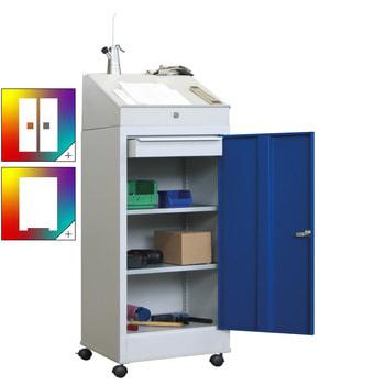Beispielabbildung: fahrbares Stehpult, Korpus in RAL 7016 lichtgrau, Front in enzianblau (RAL 5010), 2 Einlegeböden, 1 Schublade