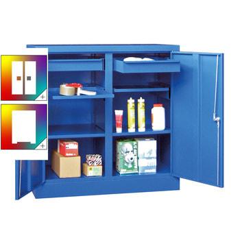 Beispielabbildung: Stahlschrank mit Vollblechtüren, einzeln verschließbar, Korpus und Front in enzianblau (RAL 5010), 2 Einlegeböden, 2 Ausziehböden, 2 Schubladen