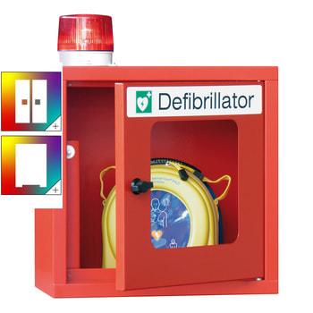 Beispielabbildung des Defibrillatorenschrankes in feuerrot (RAL 3000), mit optischem Alarm (Lieferung ohne Defibrillator)