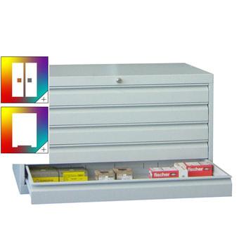 Beispielabbildung: Werkzeug-Schubladenschrank in Lichtgrau (RAL 7035), hier in der Ausführung mit 5 Schubladen, 5x100 mm