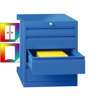 Beispielabbildung: Werkzeug-Schubladenschrank in enzianblau (RAL 5010), hier in der Ausführung mit 4 Schubladen, 1x75 mm, 1x125 mm, 2x150 mm