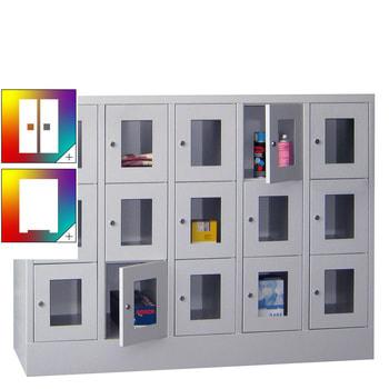Beispielabbildung: Schließfachschrank mit Sichtfenstern, 15 Fächern (Zylinderschloss), Korpus und Front in Lichtgrau (RAL 7035)
